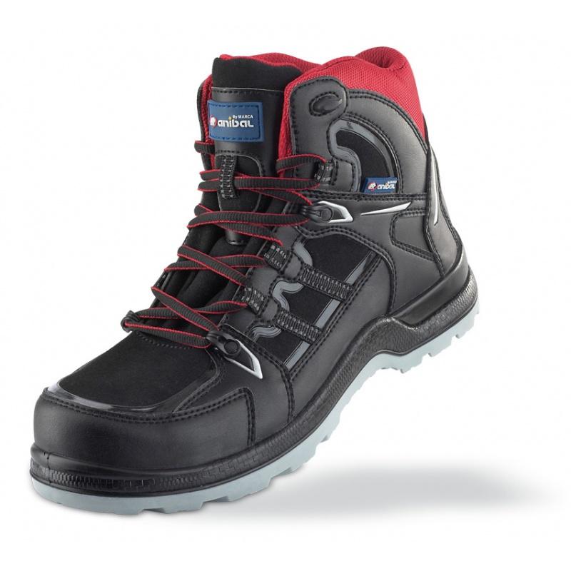 bota, piel, seguridad, protección, calzado, plantilla, puntera, cordones, antiestática, horma ancha, no metálica.